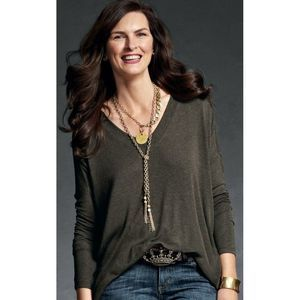Cabi Brown Slouchy Oversized V-Neck Tee Small